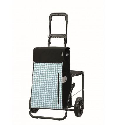 Image of   Komfort Shopper Tilly - Indkøbsvogn Trolley på hjul med sæde turkis