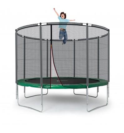 Image of   Klassik 305 cm trampolin med kantpude og forstærket udvendigt sikkerhedsnet Grøn