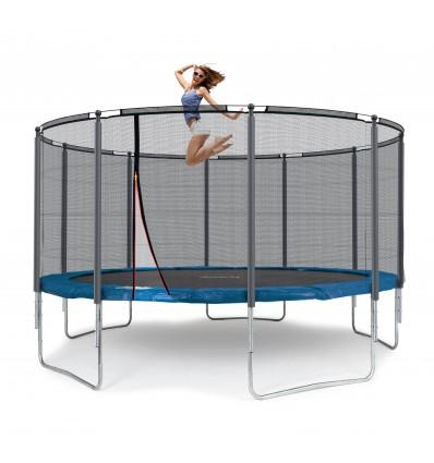 Image of   Klassik 430 cm trampolin med kantpude og forstærket udvendigt sikkerhedsnet Blå