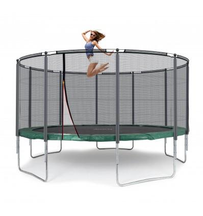 Image of   Klassik 430 cm trampolin med kantpude og forstærket udvendigt sikkerhedsnet Grøn