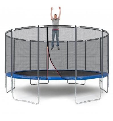 Image of   Klassik 490 cm trampolin med kantpude og forstærket udvendigt sikkerhedsnet Blå