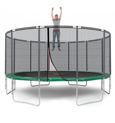 Image of   Klassik 490 cm trampolin med kantpude og forstærket udvendigt sikkerhedsnet Grøn