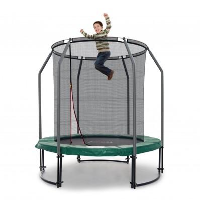 Image of   Deluxe 183 cm trampolin med grøn kantpude og indvendigt sikkerhedsnet