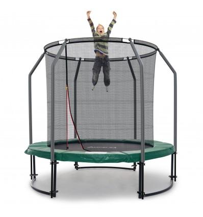 Image of   Deluxe 244 cm trampolin med grøn kantpude og indvendigt sikkerhedsnet