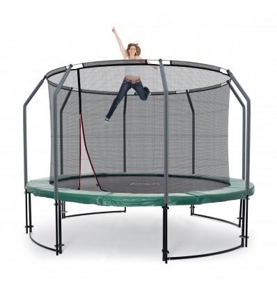Image of   Deluxe 305 cm trampolin med grøn kantpude og indvendigt sikkerhedsnet