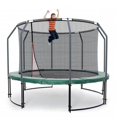 Image of   Deluxe 366 cm trampolin med grøn kantpude og indvendigt sikkerhedsnet