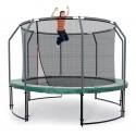 Deluxe 366 cm trampolin med grøn kantpude og indvendigt sikkerhedsnet