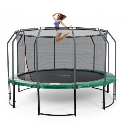 Image of   Deluxe 430 cm trampolin med grøn kantpude og indvendigt sikkerhedsnet