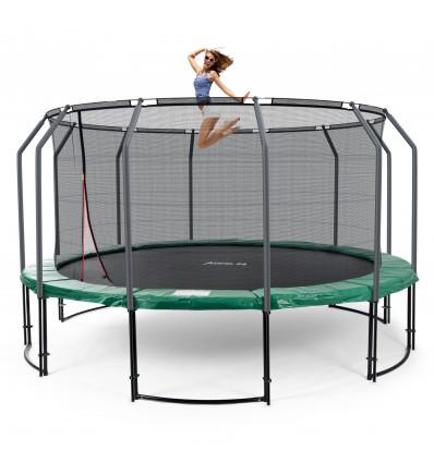 Image of   Deluxe 490 cm trampolin med grøn kantpude og indvendigt sikkerhedsnet