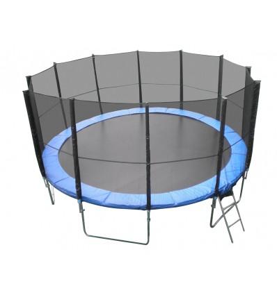Trampolin XXL 5m (490cm) med sikkerhedsnet, stige & cover (blå) Mega Pack